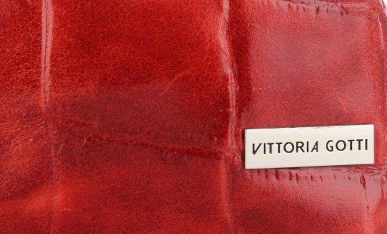 Vittoria Gotti Firmowa Torebka Skórzana Włoski Shopper w modny motyw Żółwia Czerwona