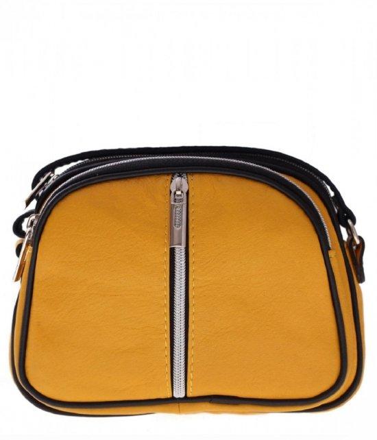 Listonoszki skórzane Genuine Leather 3 przegrody Żółta