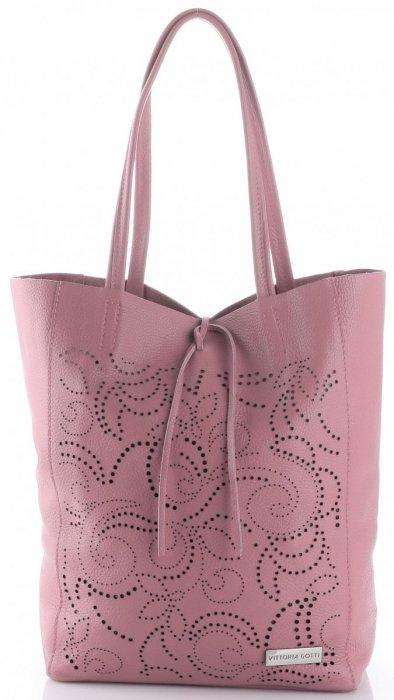 Vittoria Gotti Włoski Skórzany ShoppeBag z Kosmetyczką w modne wycinane wzory Brudny Róż