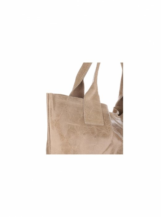 Torebka skórzana Shopper bag Lakier Beżowa