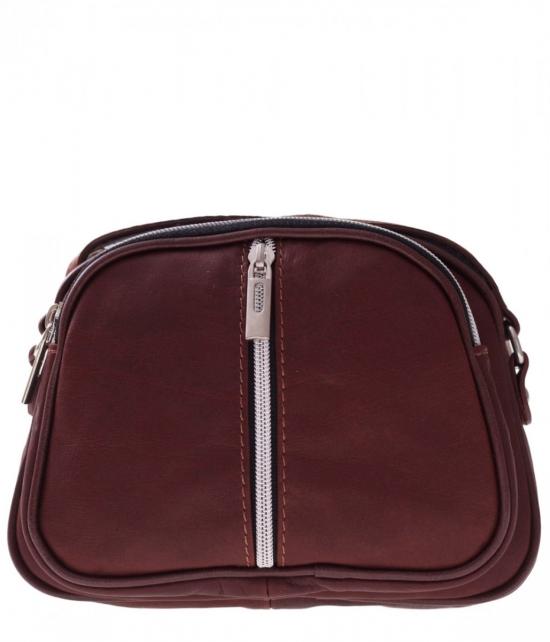 Listonoszki skórzane Genuine Leather 3 przegrody Brązowa