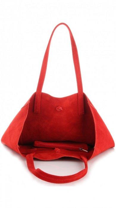 Modna Torba Skórzana ShopperBag z Etui Czerwona