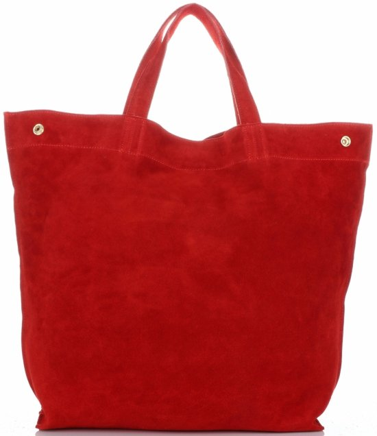 e63cd33af2d32 Włoski Skórzany Shopper XL firmy Vera Pelle Czerwony - Panitorbalska.pl