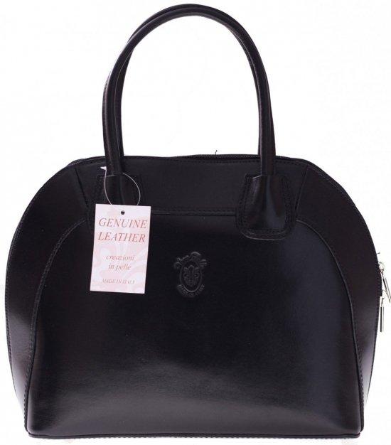 Torebka skórzana Włoski kuferek Genuine Leather Czarny