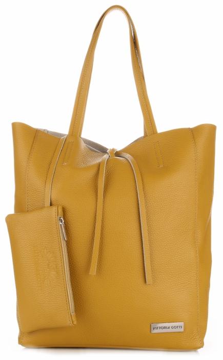 Torebki Skórzane VITTORIA GOTTI Modny Shopperbag z Etui Żółty