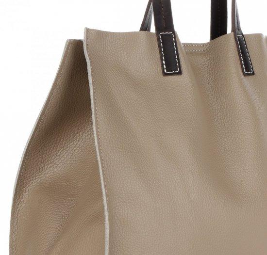 Praktyczne Torebki Skórzane 2 w 1 Shopper z Listonoszką firmy Genuine Leather Ziemista