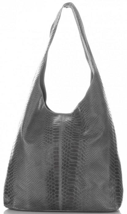 Torebki Skórzane Vittoria Gotti Włoski Shopper XL wzór Aligatora Szara