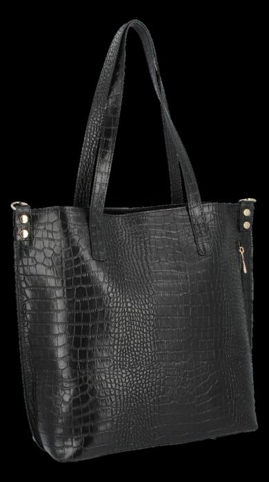 Vittoria Gotti Klasyczne Torebki Skórzane XL we wzór Aligatora Czarna