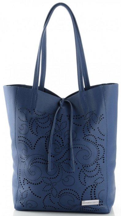 Vittoria Gotti Włoski Skórzany ShoppeBag z Kosmetyczką w modne wycinane wzory Jeansowy