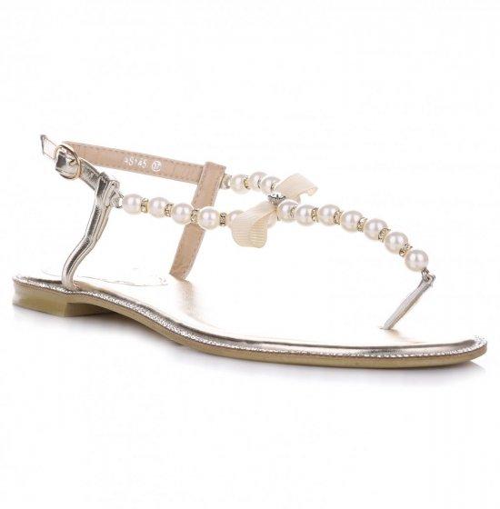 Eleganckie Sandały Damskie Złote