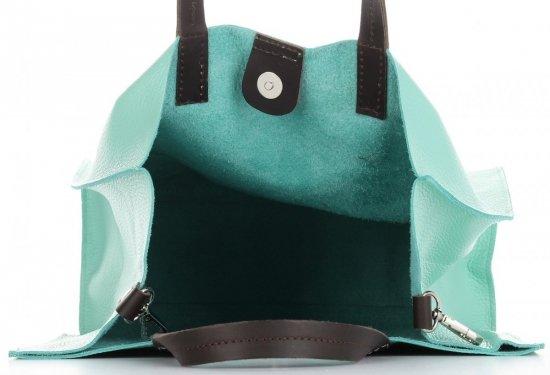 Praktyczne Torebki Skórzane 2 w 1 Shopper z Listonoszką firmy Genuine Leather Miętowa