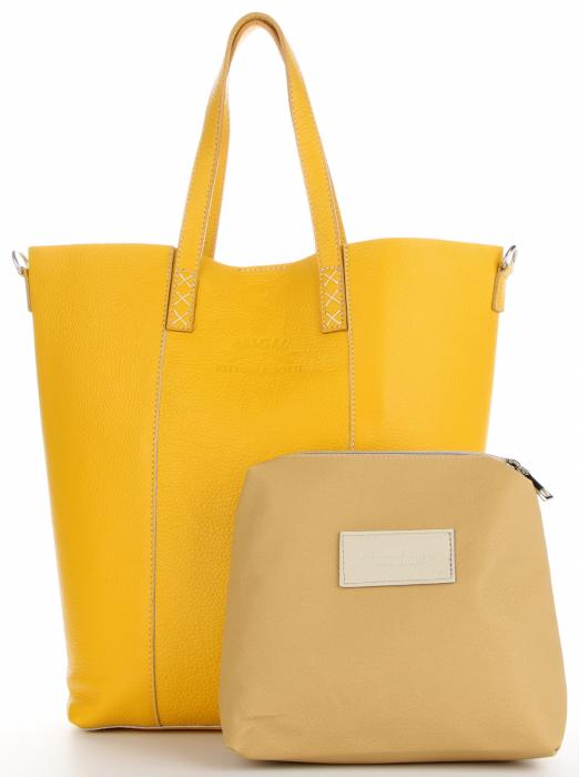 Vittoria Gotti Firmowy Shopper Made in Italy z Kosmetyczką Żółty