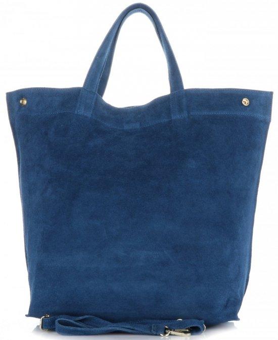 b049fae0192e6 Włoski Skórzany Shopper XL firmy Vera Pelle Jeansowy - Panitorbalska.pl
