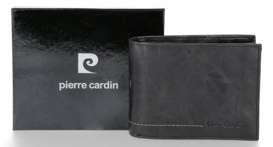 Pierre Cardin Firmowy Skórzany Portfel Męski Czarny