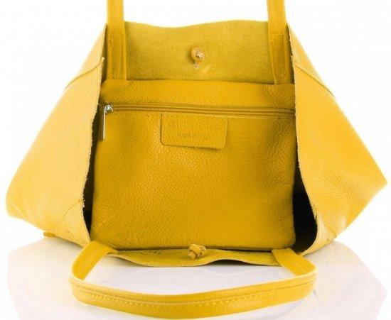 Vittoria Gotti Włoski Skórzany ShoppeBag z Kosmetyczką w modne wycinane wzory Żółty