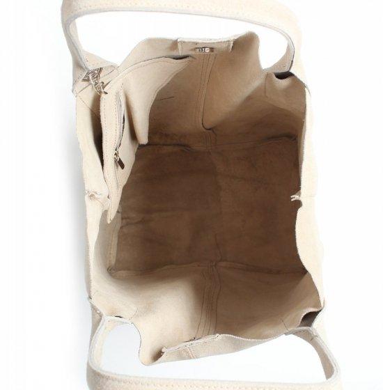 Torebka skórzana  Shopper bag zamsz naturalny Beżowa