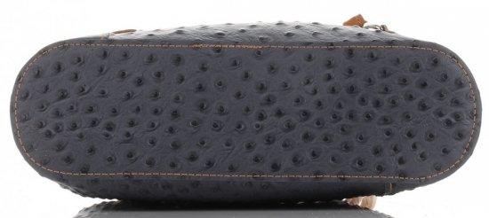 Włoska Torebka Skórzana firmy Genuine Leather Szara z rudym