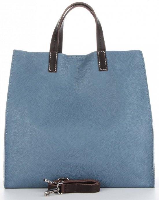 Praktyczne Torebki Skórzane 2 w 1 Shopper z Listonoszką firmy Genuine Leather Niebieska