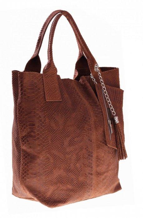 Włoskie Torebki skórzane typu Shopper bag Ruda