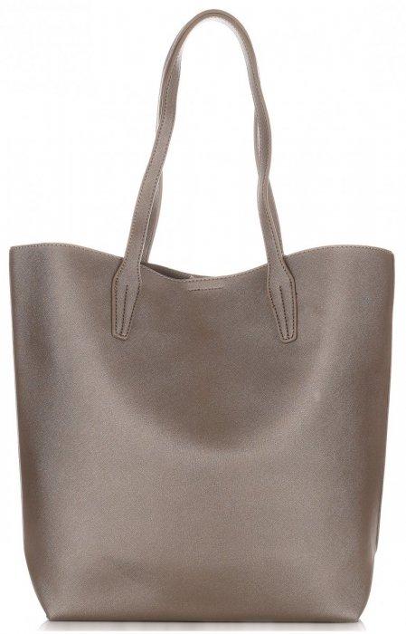 Duża Torba Damska David Jones Typu Shopper Bag XXL z Kosmetyczką Stare Złoto