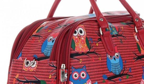 Średnia Torba Podróżna Kuferek Or&Mi wzór w sowy Multikolor - Czerwona