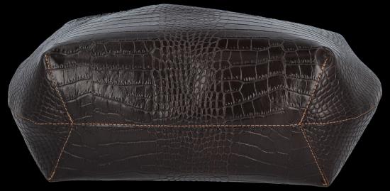Vittoria Gotti Ekskluzywna Torebka Skórzana Shopper produkcji Włoskiej w modny wzór aligatora z Kosmetyczką Czekolada