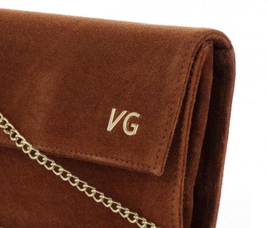Firmowe Kopertówki Skórzane Vittoria Gotti Eleganckie Listonoszki na łańcuszku Made in Italy Brązowa
