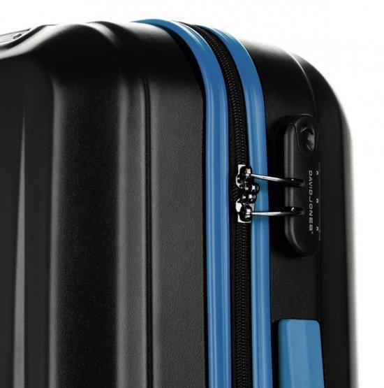 Walizki renomowanej firmy David Jones Zestaw 3w 1 Czarne z niebieskim