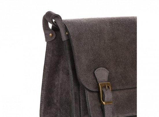 Torebki Listonoszki Skórzane Genuine Leather Szara