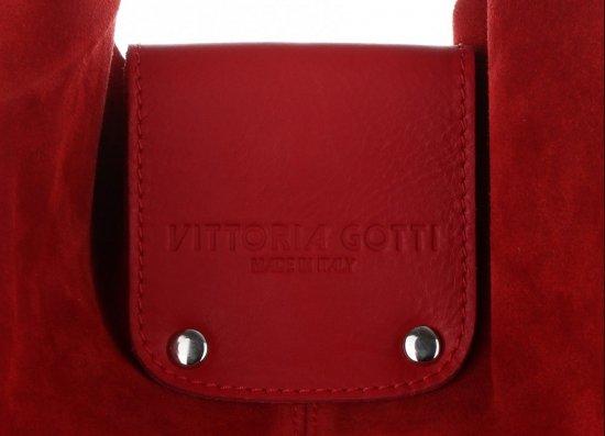 Duża Torba Skórzana Shopper XXL Vittoria Gotti Made in Italy zamsz naturalny wysokiej jakości Czerwona