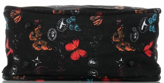 Mała Torba Podróżna Kuferek Or&Mi wzór w motyle Multikolor - Czarna