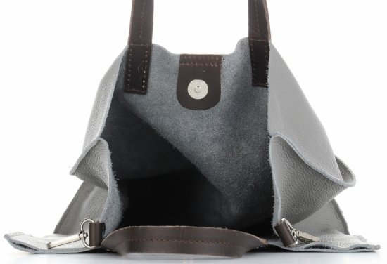 Praktyczne Torebki Skórzane 2 w 1 Shopper z Listonoszką firmy Genuine Leather Szara