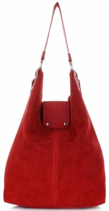 f9198ef38b5a1 Duża Torba Skórzana Shopper XXL Vittoria Gotti Made in Italy zamsz  naturalny wysokiej jakości Czerwona