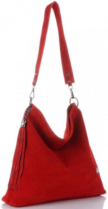 104c356eaa539 Vittoria Gotti Uniwersalna Torebka Skórzana Listonoszka XL do noszenia na  co dzień Czerwona