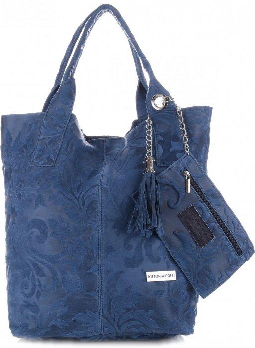 903af92514555 VITTORIA GOTTI Made in Italy Torebka Skórzana Shopperbag w Tłoczone Wzory  Niebieska