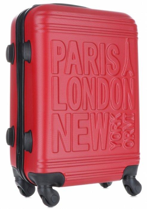 eafafe343835b Modna Walizka Kabinówka Or&Mi Paris/London/NewYork 4 kółka Czerwona