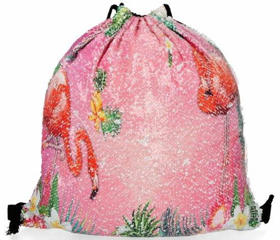 Modny Plecaczek Damski Worek z cekinami we wzór flaminga Jasno Różowy