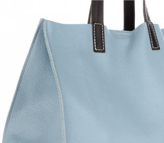 Praktyczne Torebki Skórzane 2 w 1 Shopper z Listonoszką firmy Genuine Leather Błękitna