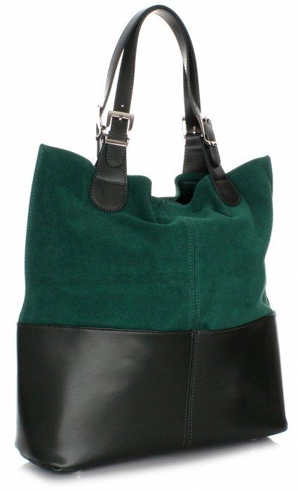 Exkluzívna Kožená Taška Shopper Bag Zelená