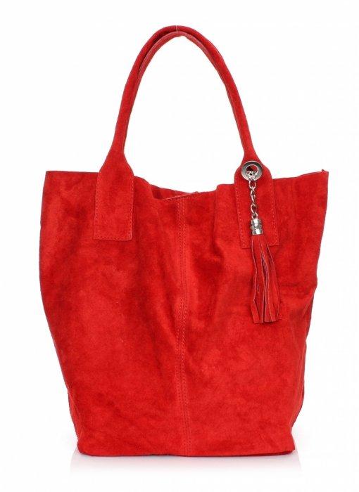 Kožená Taška Shopper Bag Pravá Semišová Červená