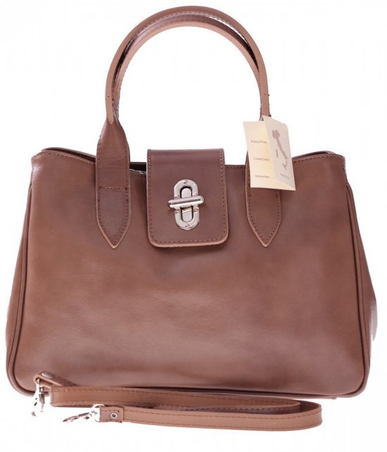 Taška Kožená taška vyrobená v Taliansku zemitá