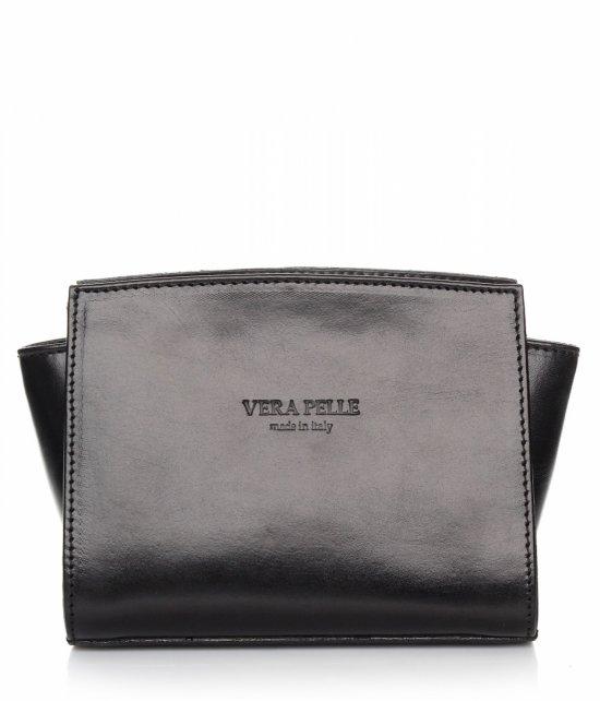Módna kožená taška Vera Pelle Čierna