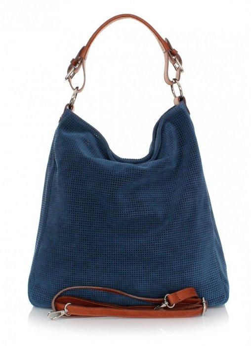 Univerzálna Kožená taška Azur Tmavo modrá