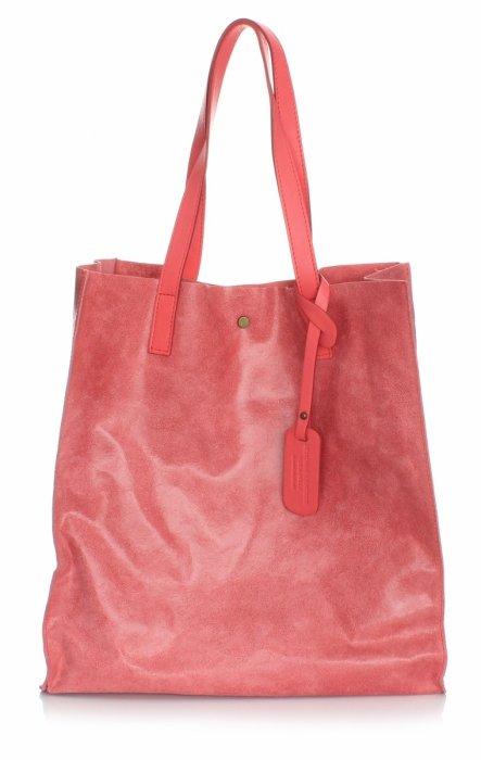 Kožená nákupná taška Shopper taška s malinovou kozmetickou taškou
