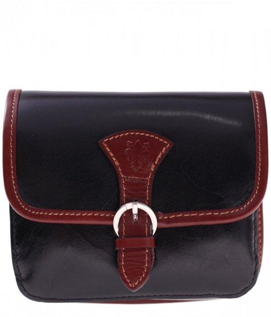 Kožené Crossbody tašky čierne s hnedou