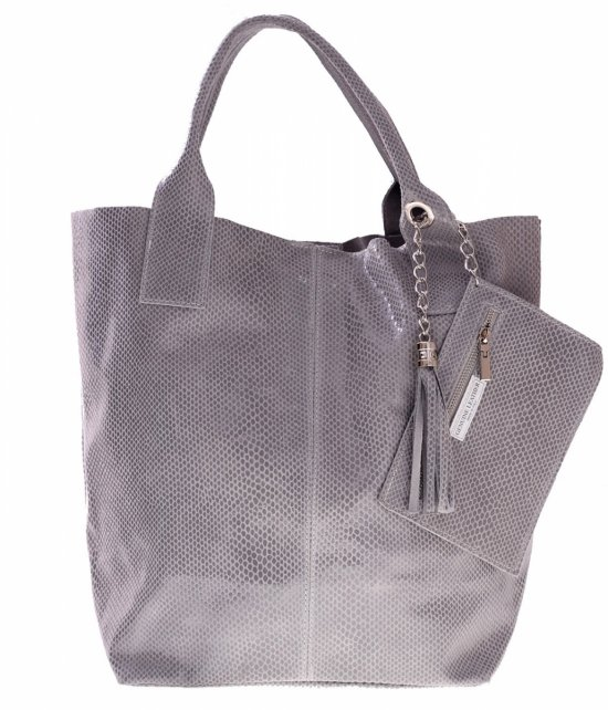 Shopper bagi tašky z lakovanej kože, svetlo šedá