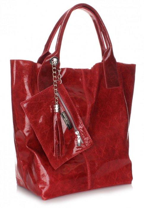 Kožená Taška Shopper Taška Lak Červená