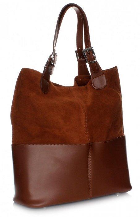 Kožená taška exkluzívna nákupná taška hnedá