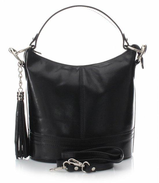 Klasická Kožená taška na ruky s popruhom Čierna