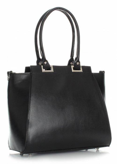 Elegantná Kožená Taška Čierna